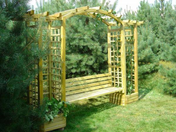 Pergola mit Gartenbank