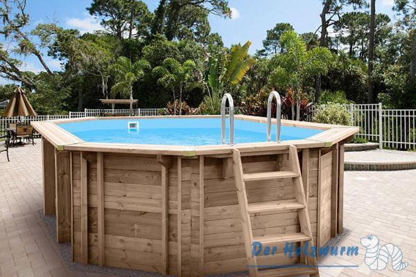 Holzpool bali 8 eckig ca 840x490 cm holzwurm obersayn for Pool aufblasbar eckig