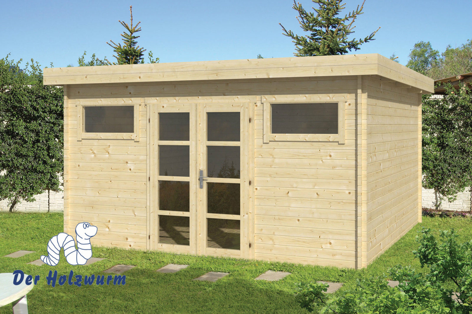 gartenhaus supermodern 40 mm ca 420x420 cm holzwurm obersayn. Black Bedroom Furniture Sets. Home Design Ideas