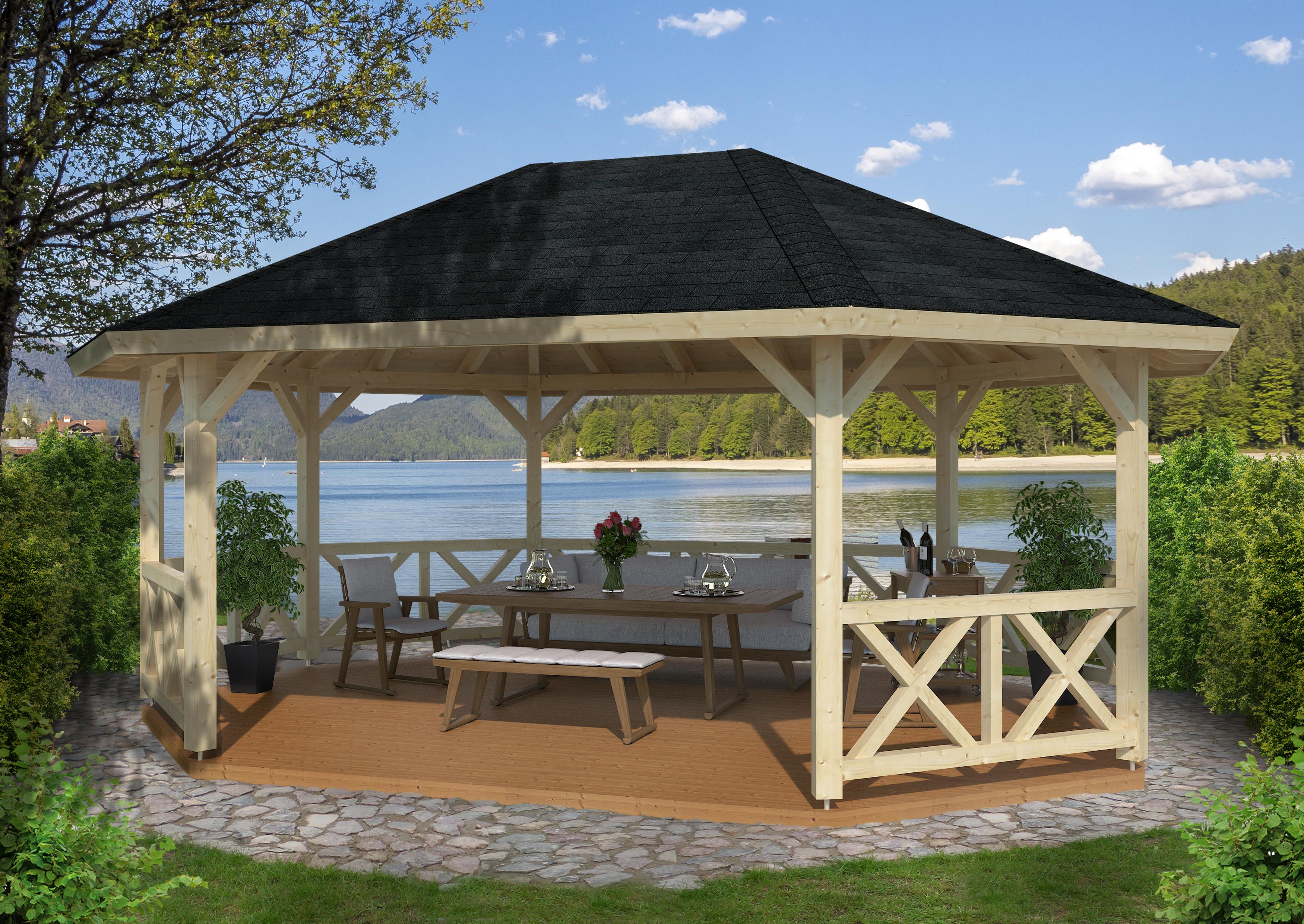 gartenpavillon betty 5 120x120 mm ca 615 cm holzwurm obersayn. Black Bedroom Furniture Sets. Home Design Ideas