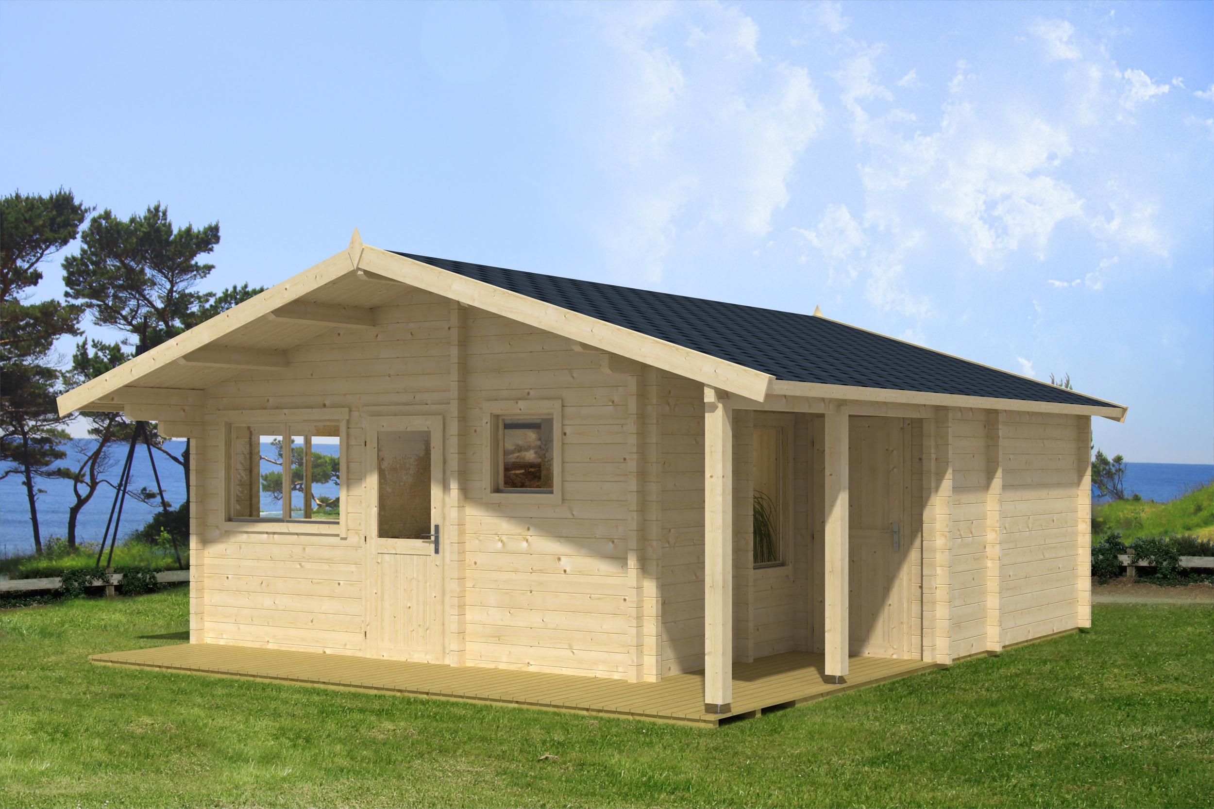 ferienhaus jordan 70 mm ca 595x595 cm holzwurm obersayn. Black Bedroom Furniture Sets. Home Design Ideas