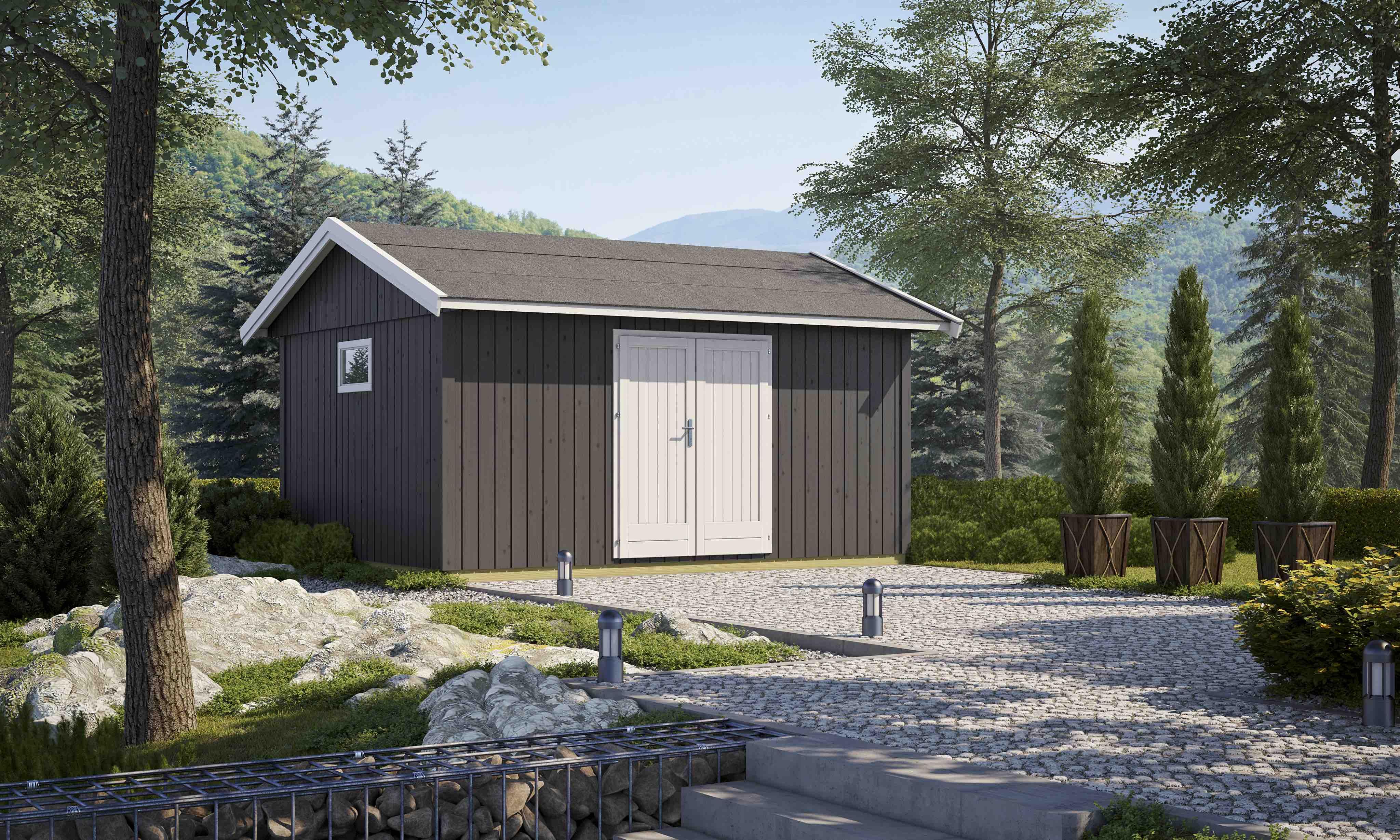 gartenhaus nordic 15 122 mm ca 444x344 cm holzwurm obersayn. Black Bedroom Furniture Sets. Home Design Ideas