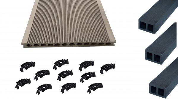 bpc terrassendiele komplettset dunkelbraun hohlkammerdiele r hre 250 mm breit holzwurm. Black Bedroom Furniture Sets. Home Design Ideas