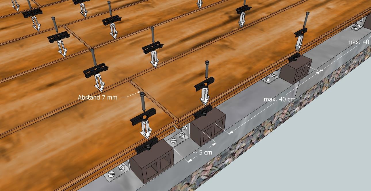 Holzwurm Online Shop - WPC Terassendielen - Befestigung eines Dielenstoßes in der Fläche