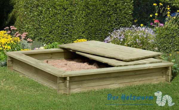 Holzabdeckung für Sandkasten 180x180 cm
