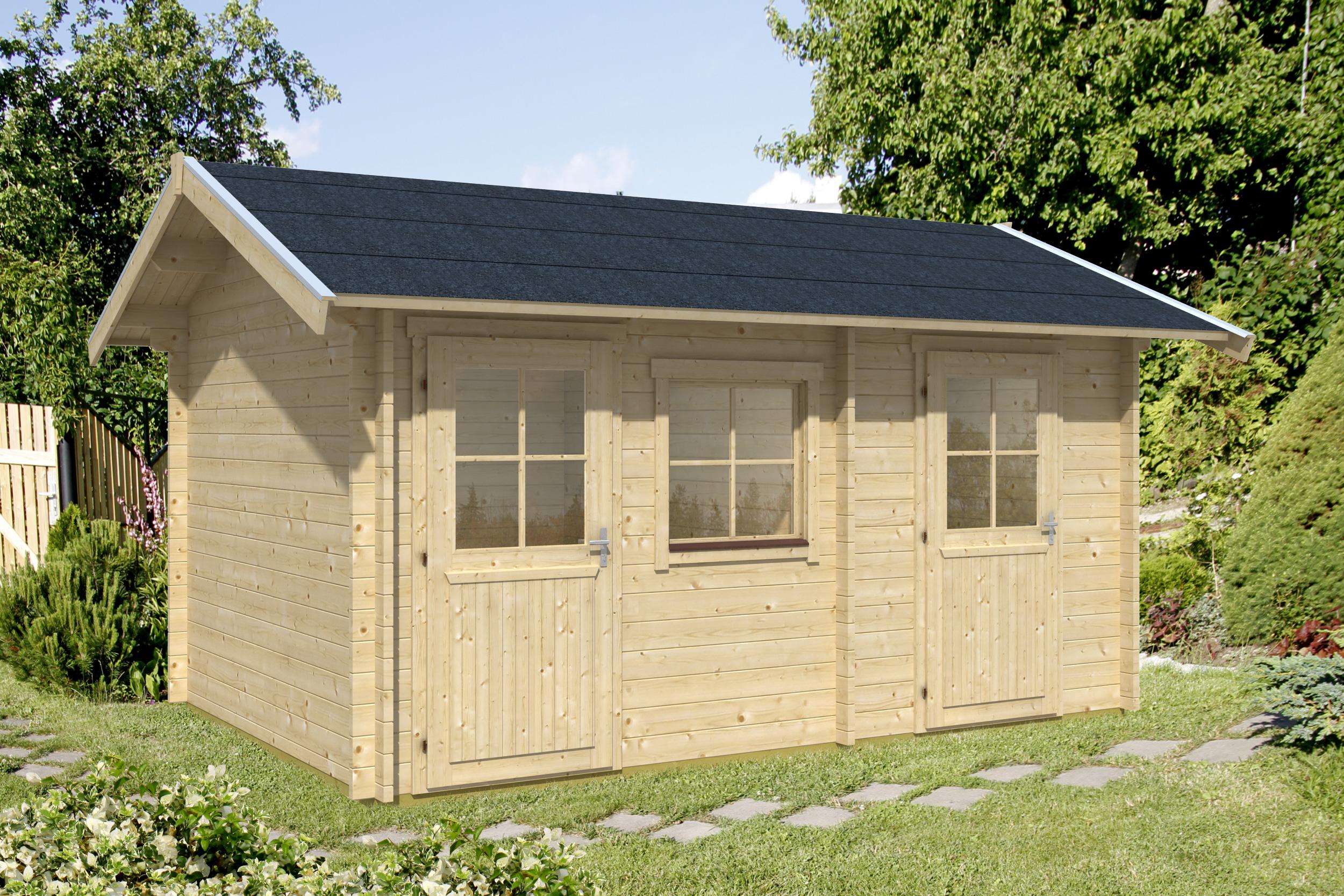 gartenhaus lausanne 45 mm ca 430x280 cm holzwurm obersayn. Black Bedroom Furniture Sets. Home Design Ideas