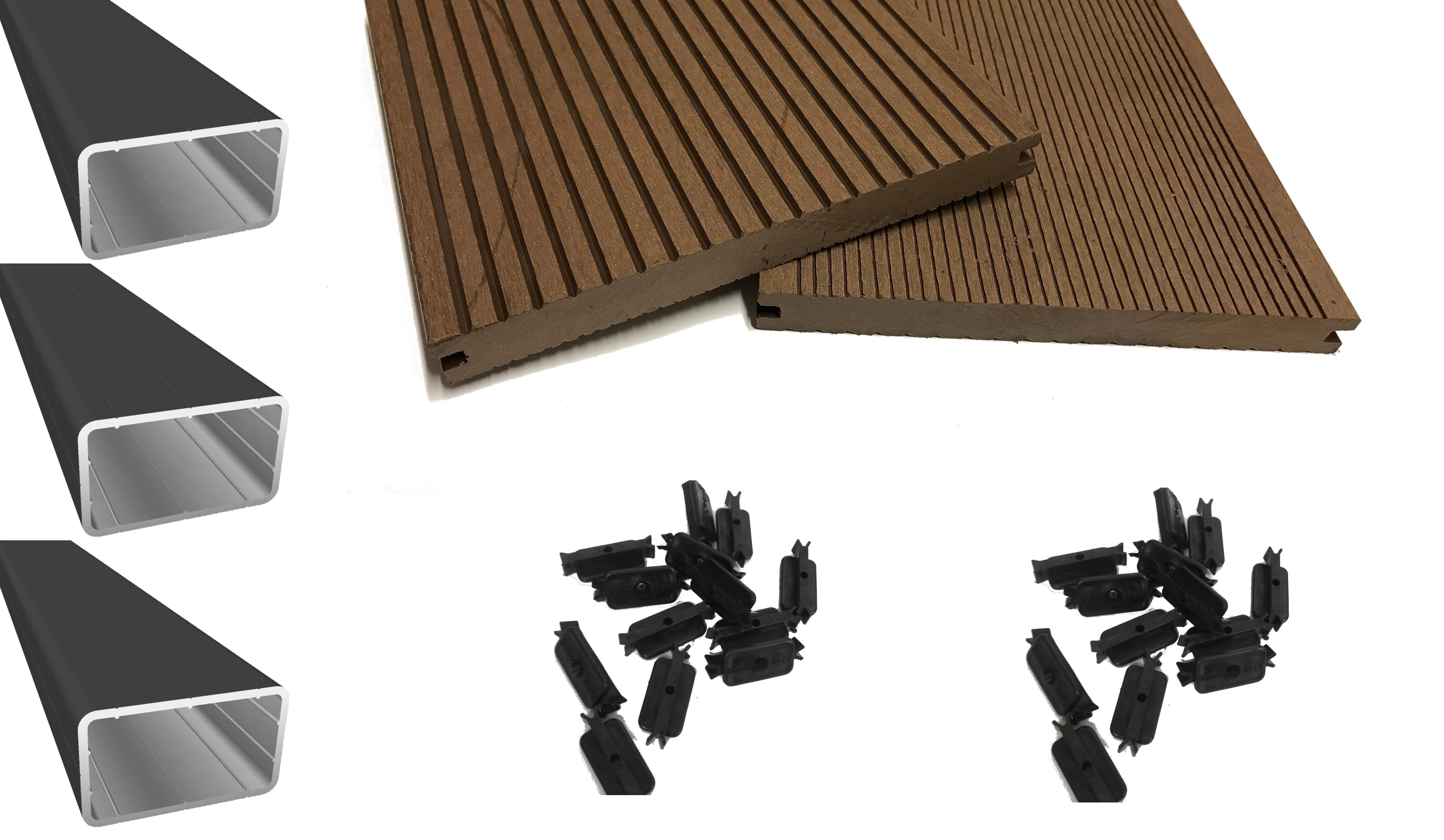 wpc terrassendiele komplettset profi xl dunkelbraun massiv 200 mm breit holzwurm obersayn. Black Bedroom Furniture Sets. Home Design Ideas