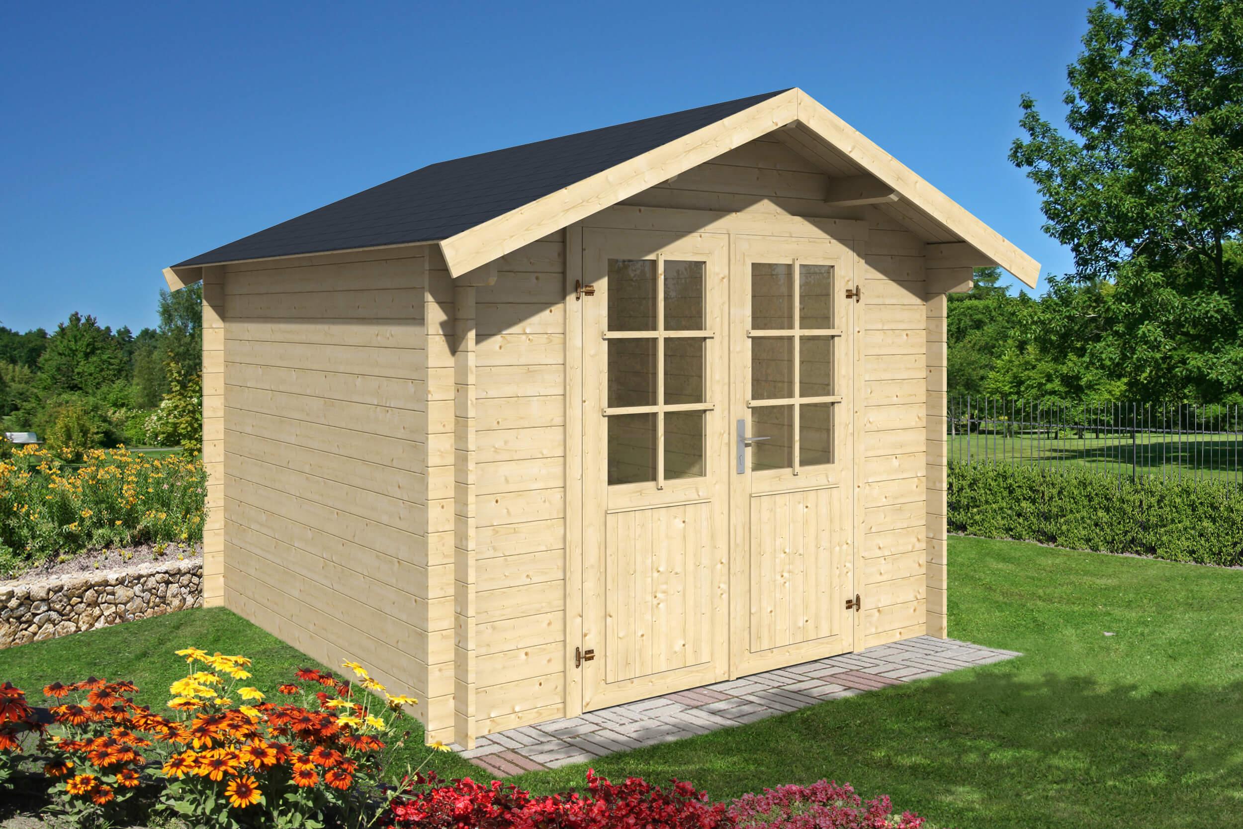 gartenhaus ida 28 mm ca 300x300 cm holzwurm obersayn. Black Bedroom Furniture Sets. Home Design Ideas