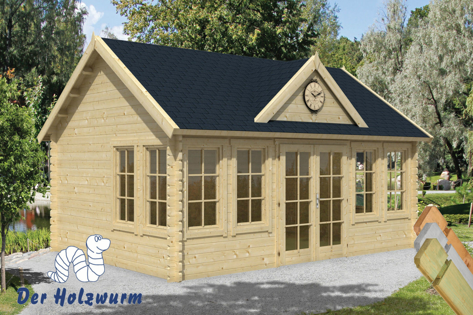 gartenhaus clockhouse 44 mm ca 550x400 cm holzwurm obersayn. Black Bedroom Furniture Sets. Home Design Ideas
