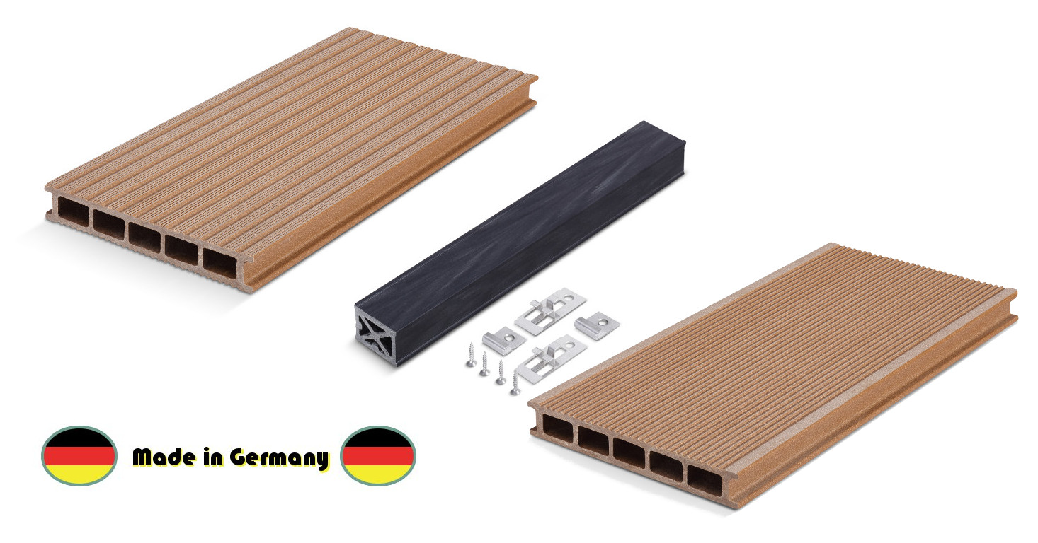 wpc komplettset made in germany hellbraun hohlkammerdiele 140 mm breit holzwurm obersayn. Black Bedroom Furniture Sets. Home Design Ideas