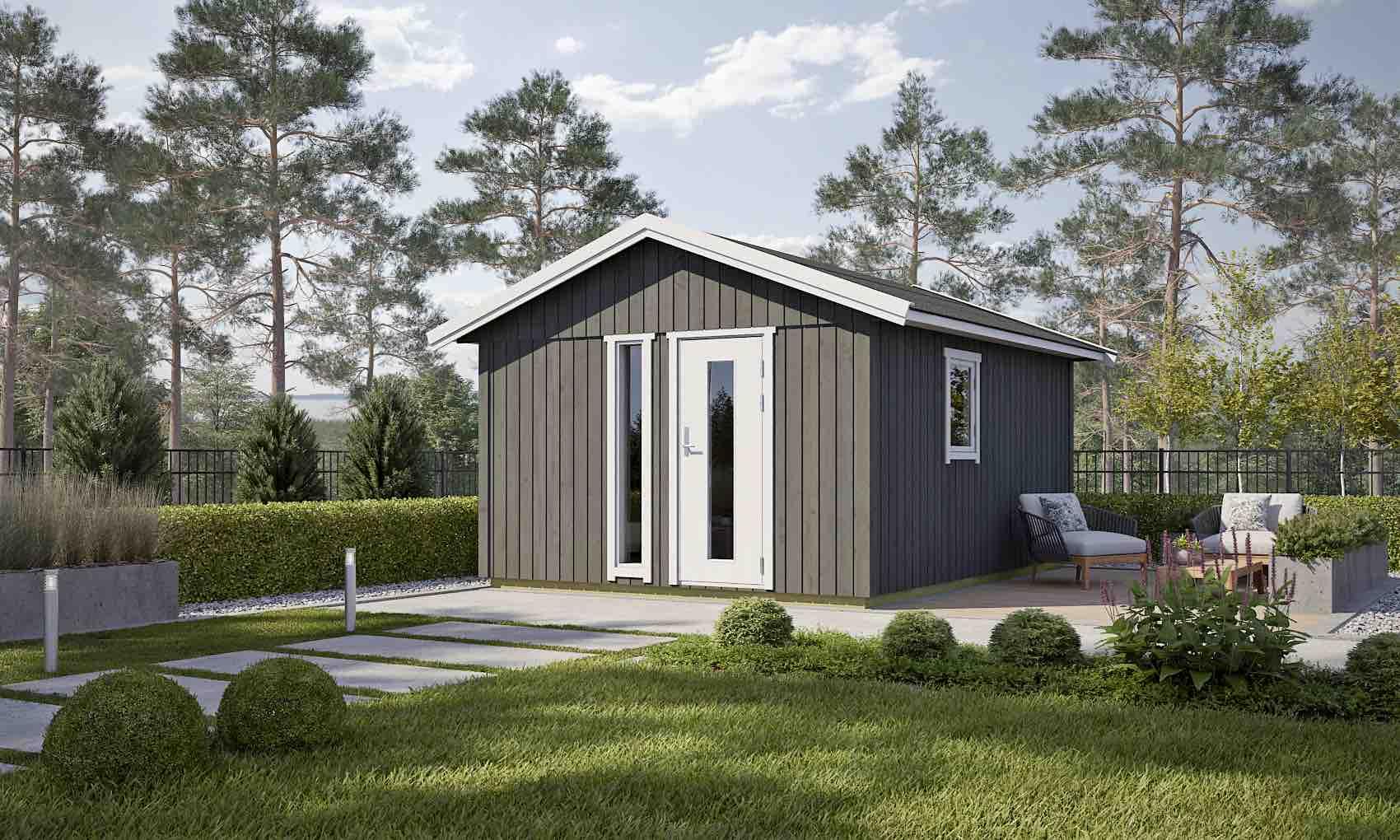 gartenhaus nordic plus 15 122 mm ca 355x451 cm holzwurm obersayn. Black Bedroom Furniture Sets. Home Design Ideas